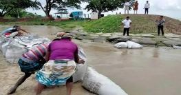 রাজশাহীতে ভরা পদ্মায় বালির ব্যাগ ফেলছে পানি উন্নয়ন বোর্ড